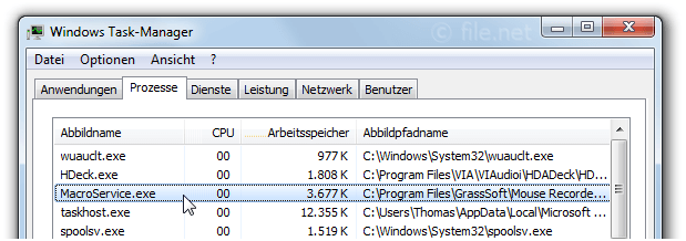 Windows Task-Manager mit MacroService