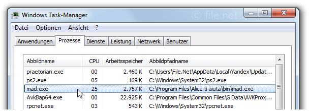 Windows Task-Manager mit mad