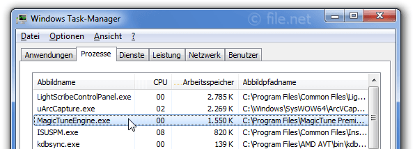 Windows Task-Manager mit MagicTuneEngine