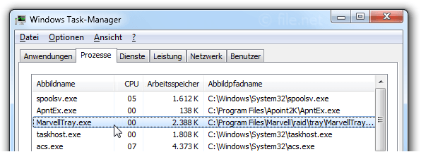 Windows Task-Manager mit MarvellTray