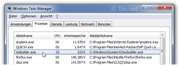 mcbuilder exe Windows Prozess - Was ist das?