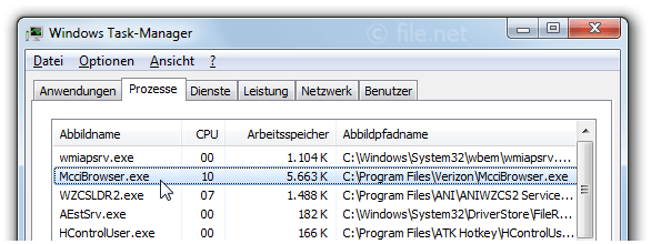 Windows Task-Manager mit McciBrowser