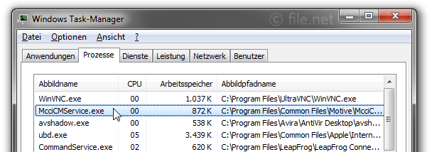 Windows Task-Manager mit McciCMService
