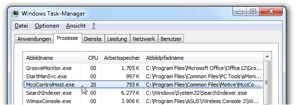 Windows Task-Manager mit McciControlHost