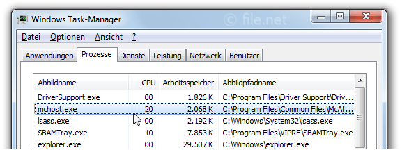 Windows Task-Manager mit mchost