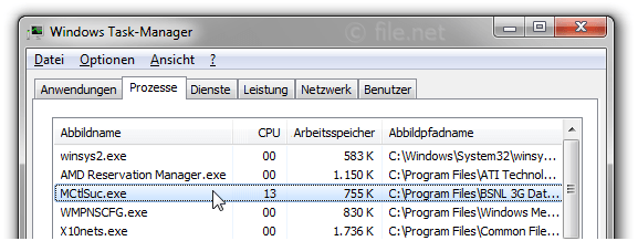 Windows Task-Manager mit MCtlSuc