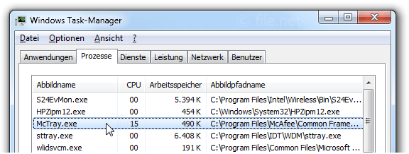 Windows Task-Manager mit McTray