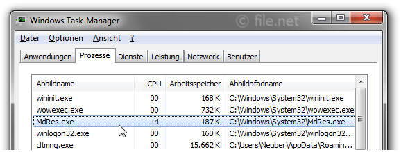 Windows Task-Manager mit MdRes