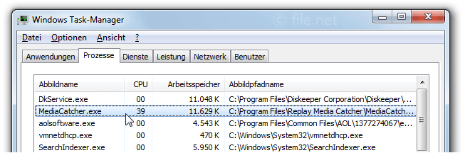 Windows Task-Manager mit MediaCatcher