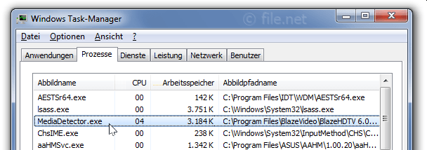 Windows Task-Manager mit MediaDetector