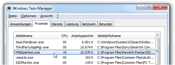 Windows Task-Manager mit MfeEpeHost