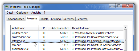 Windows Task-Manager mit mfefire