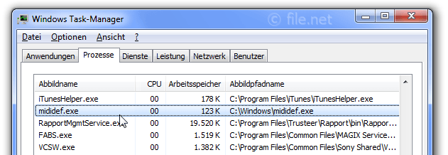 Windows Task-Manager mit MIDIDef