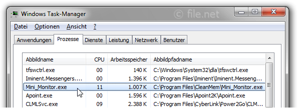 Windows Task-Manager mit mini_monitor