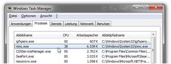 Windows Task-Manager mit mmc