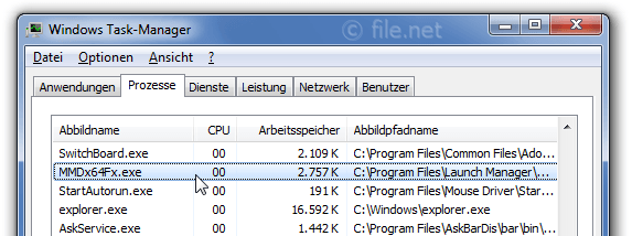 Windows Task-Manager mit MMDx64Fx
