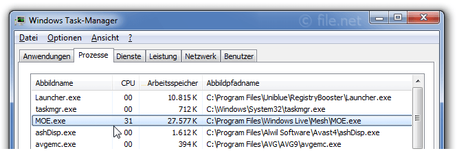 Windows Task-Manager mit MOE