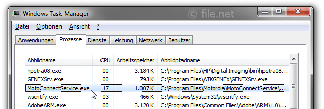 Windows Task-Manager mit MotoConnectService