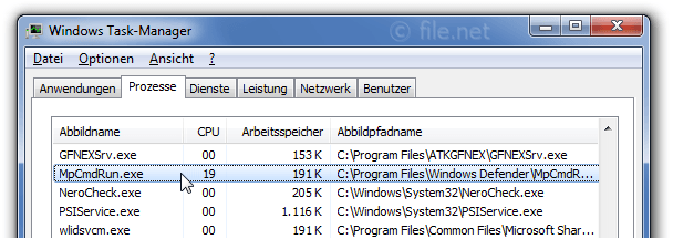 Windows Task-Manager mit MpCmdRun