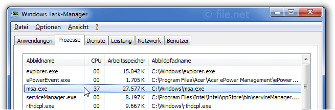 Windows Task-Manager mit msa