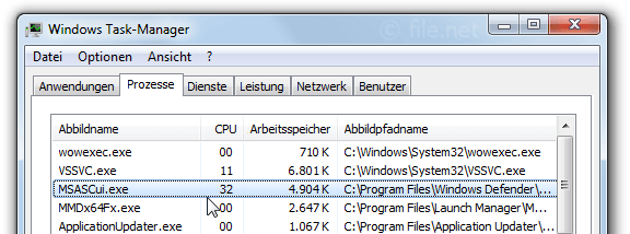 Windows Task-Manager mit MSASCui