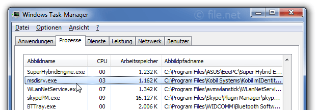 Windows Task-Manager mit msdisrv