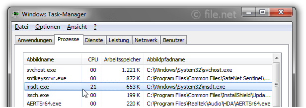 Windows Task-Manager mit msdt