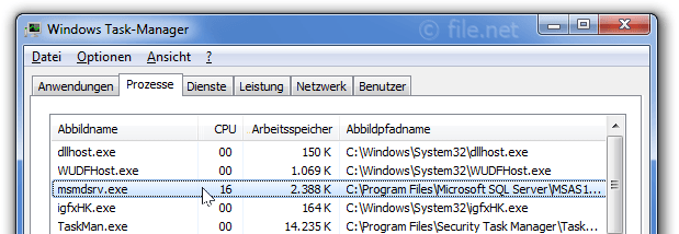 Windows Task-Manager mit msmdsrv