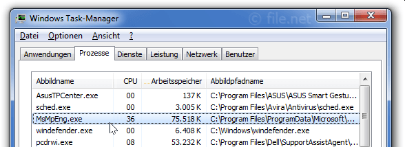 Windows Task-Manager mit MsMpEng