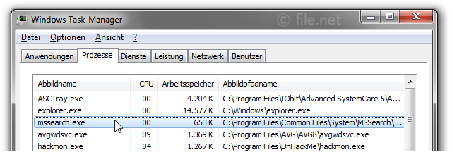 Windows Task-Manager mit mssearch