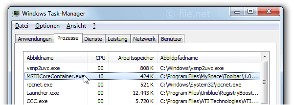 Windows Task-Manager mit MSTBCoreContainer