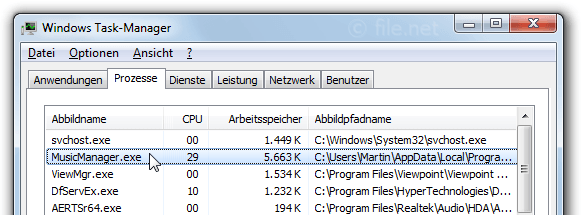 Windows Task-Manager mit MusicManager