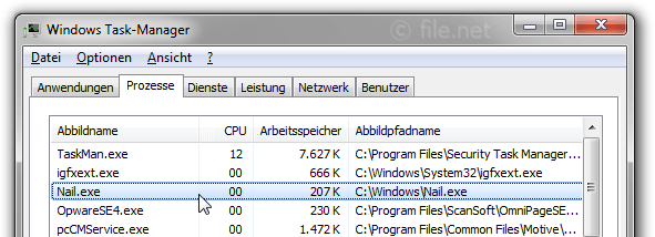 Windows Task-Manager mit Nail