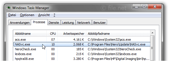 Windows Task-Manager mit NASvc