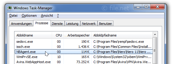 Windows Task-Manager mit NBAgent
