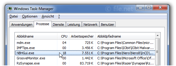 Windows Task-Manager mit NBHGui