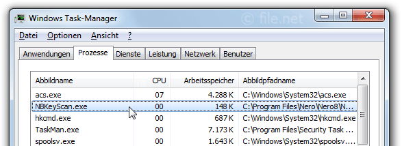 Windows Task-Manager mit NBKeyScan
