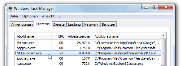 Windows Task-Manager mit NCLauncher