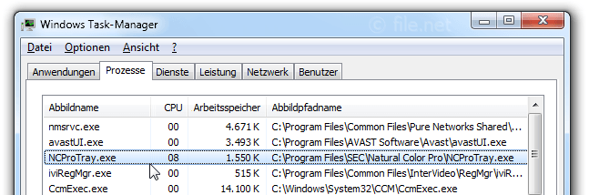 Windows Task-Manager mit NCProTray