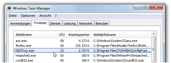 Windows Task-Manager mit NDSTray