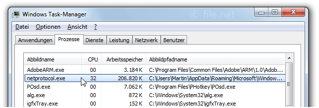 Windows Task-Manager mit netprotocol
