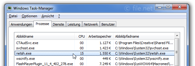 Windows Task-Manager mit netsh