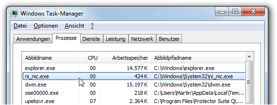 Windows Task-Manager mit ni_nic
