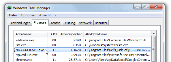 Windows Task-Manager mit NICCONFIGSVC