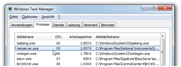 Windows Task-Manager mit nierserver