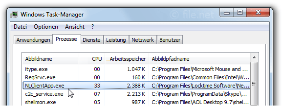 Windows Task-Manager mit NLClientApp