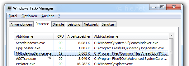 Windows Task-Manager mit NMIndexingService