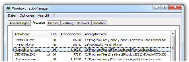Windows Task-Manager mit NomadBranch