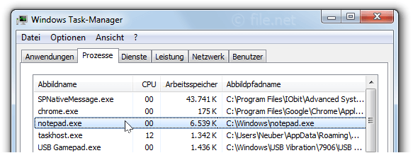 Windows Task-Manager mit notepad