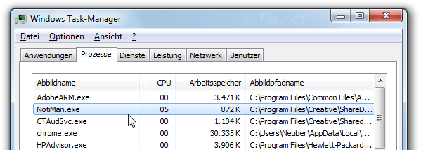 Windows Task-Manager mit NotiMan
